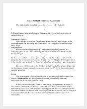 Social Media Consultant Agreement Template