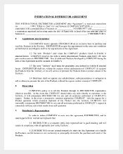 Sample International Distributor Agreement Template