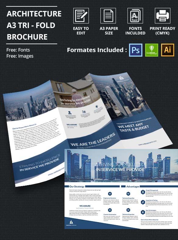 A3 Tri-Fold Architecture Brochure