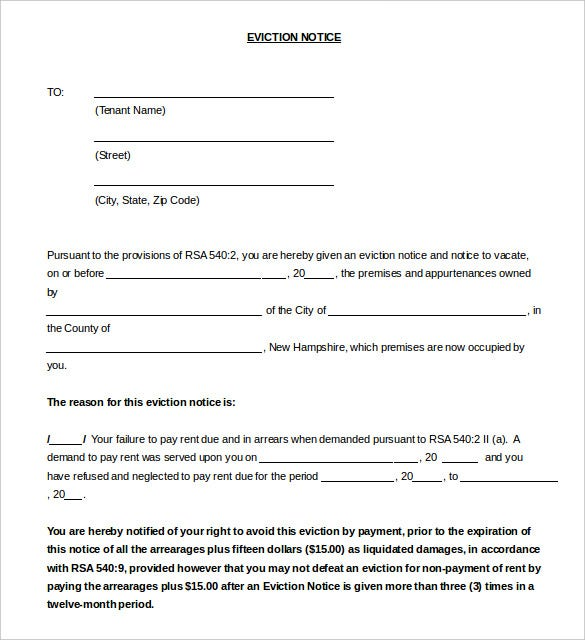Eviction Notice Letter Standard Eviction Notice Form Template