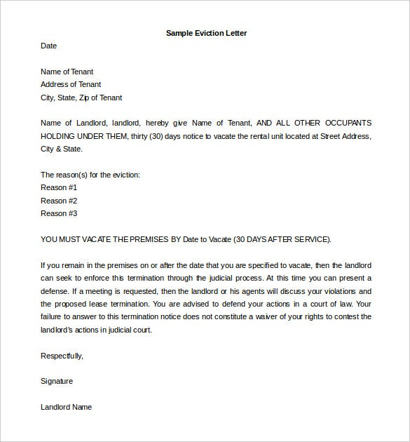 Eviction Letter Templates 6 Eviction Letter Templates  Free Sample Example Format .