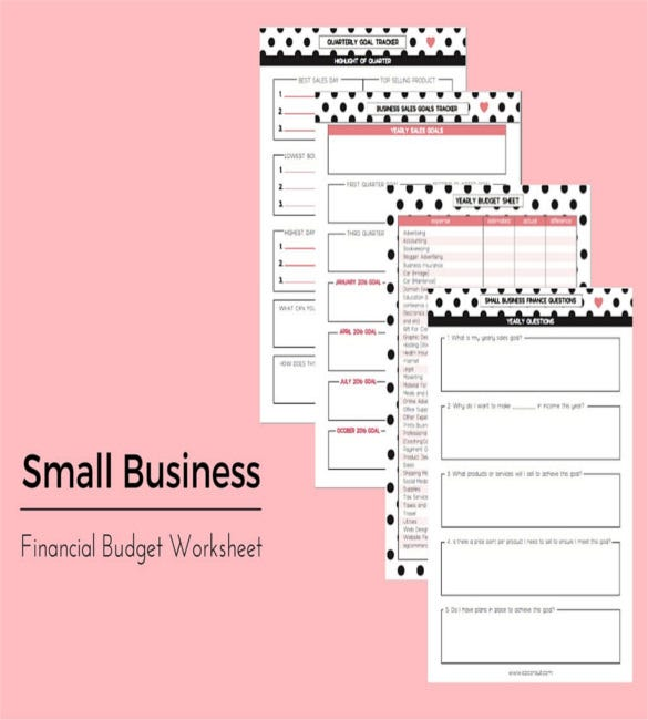 small business financial budget worksheet