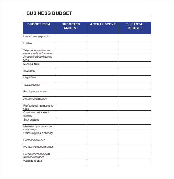 business budget spreadsheet