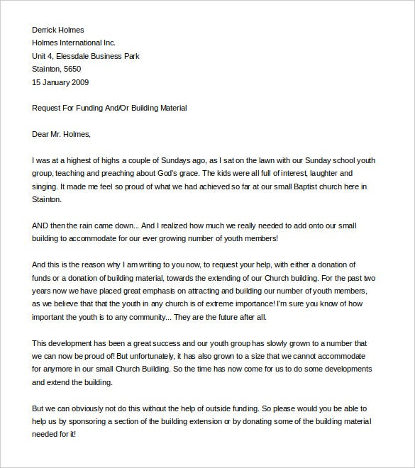 sample fundraising letter for church plant word format