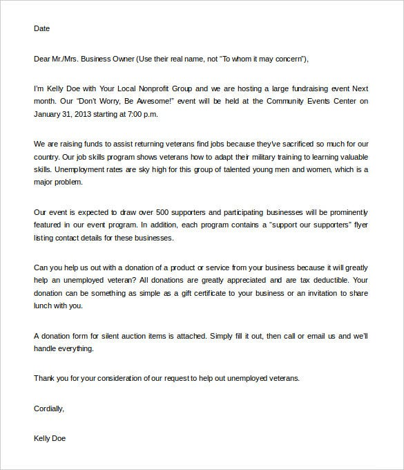 Fundraising Letter Templates Free Sample Example Format - Letter for donations for fundraiser template