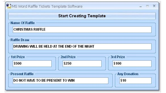 start creating ticke template in word