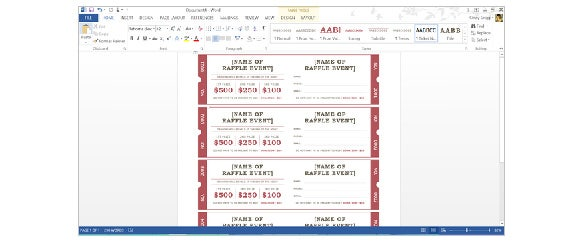 Raffel Ticket Template Creating in Word