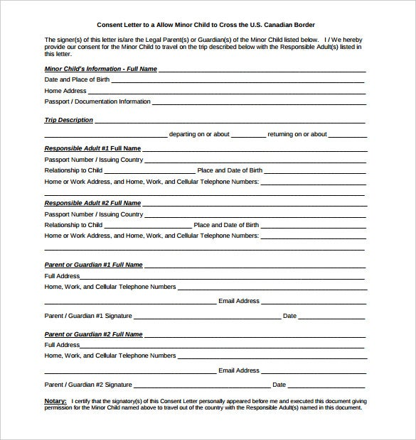 child notarized letter template sample pdf download