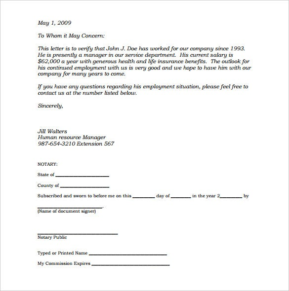 sample notarized letter of employment template