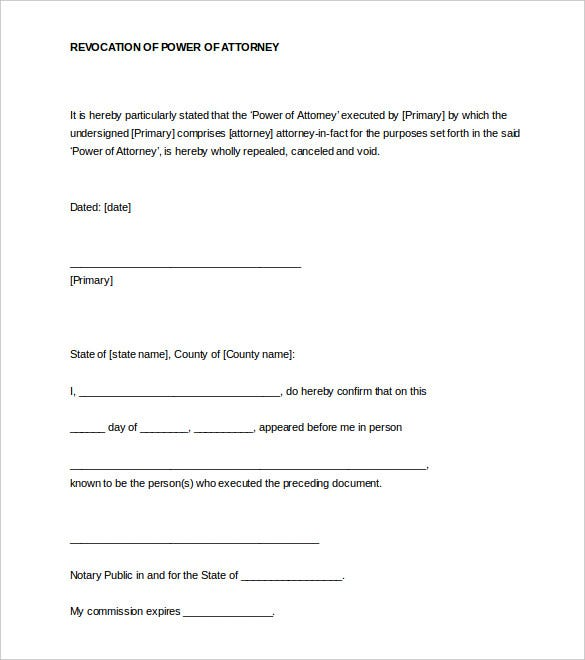revocation of power of attorney notarized letter word format