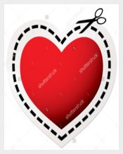 Red Heart Blank Love Coupon Template