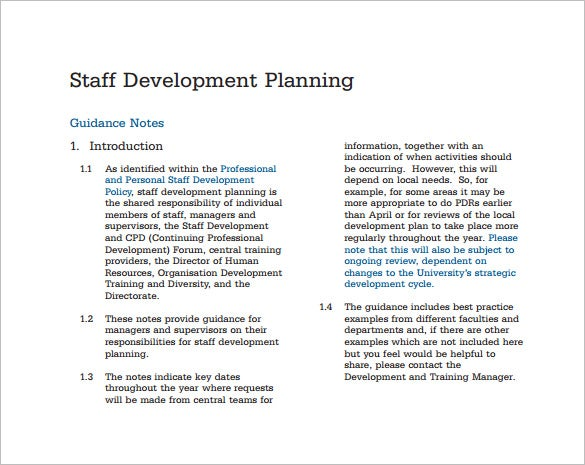 staff development plan pdf template free download