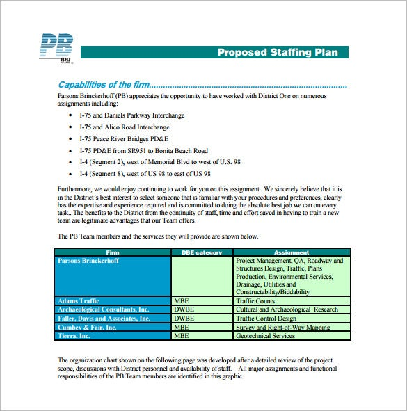 proposed staffing plan free pdf template download