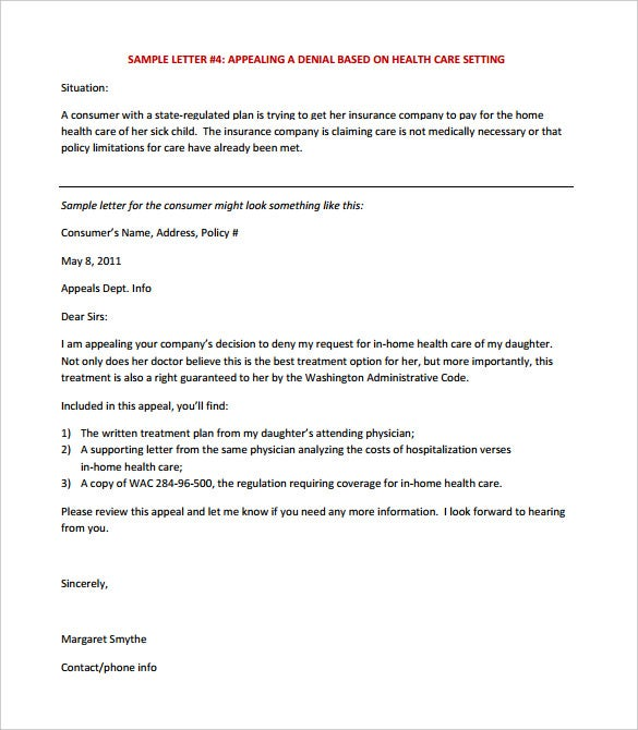 appeal letter template for health insurance pdf format - Medical Appeal Letters