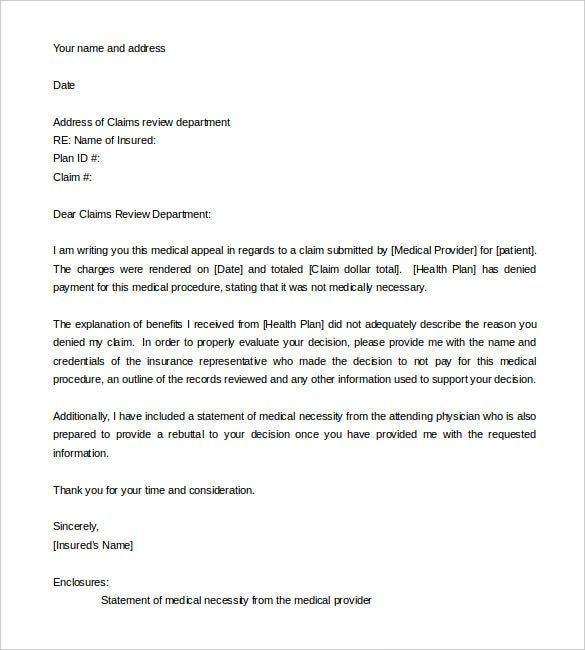 11 appeal letter templates free sample example format download appeal letter template for medical necessity word format thecheapjerseys Gallery