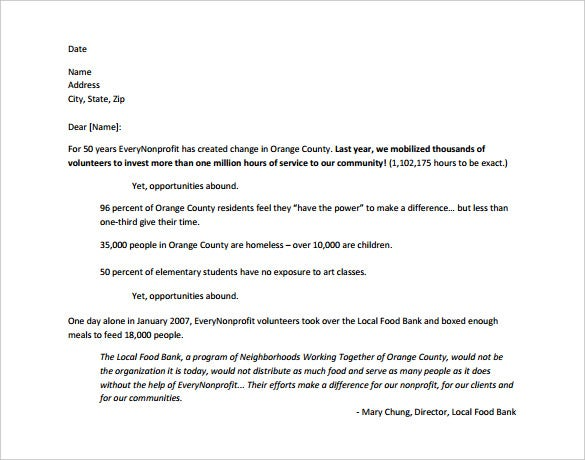 sample fundraising appeal letter template free pdf download