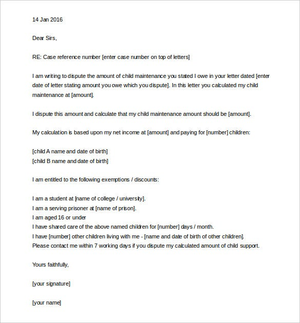 child support appeal letter template sample word download