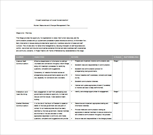 Change Management Plan Template – 6+ Free Word, Pdf Documents