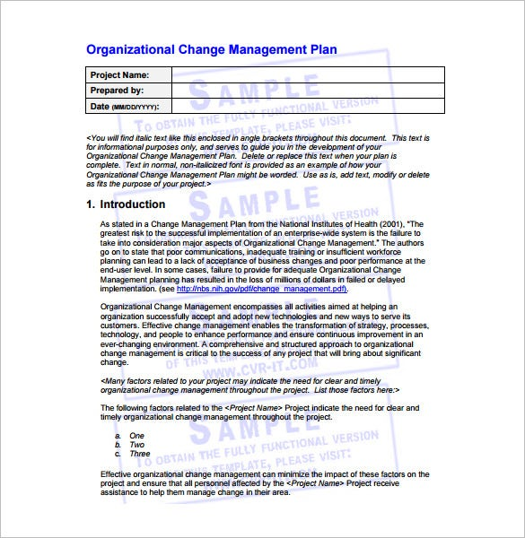 organizational change management plan free pdf template