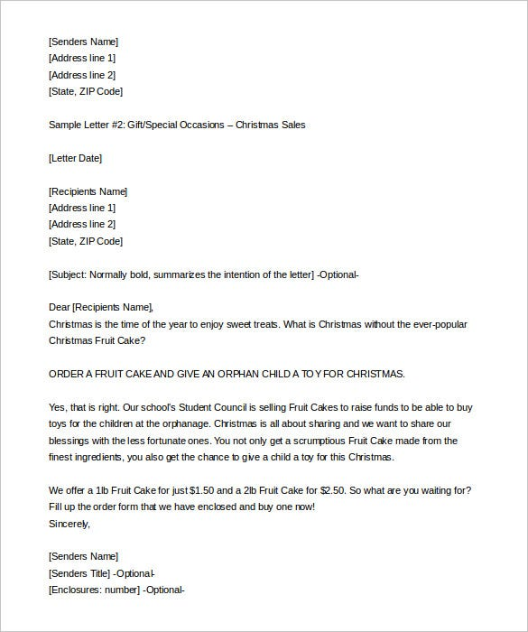 9+ Sales Letter Templates – Free Sample, Example Format Download