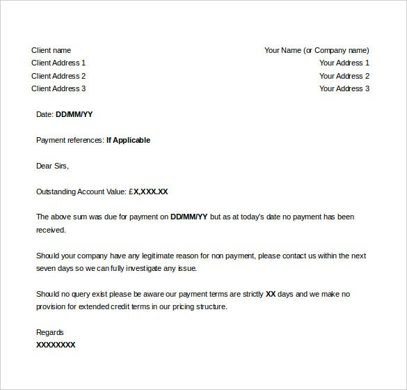 sample letter for sending invoice