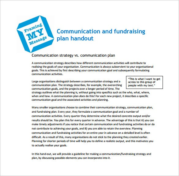 communication and ffundraising plan pdf free download