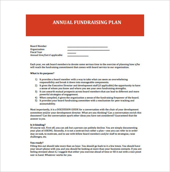 annual fundraising plan free pdf template download