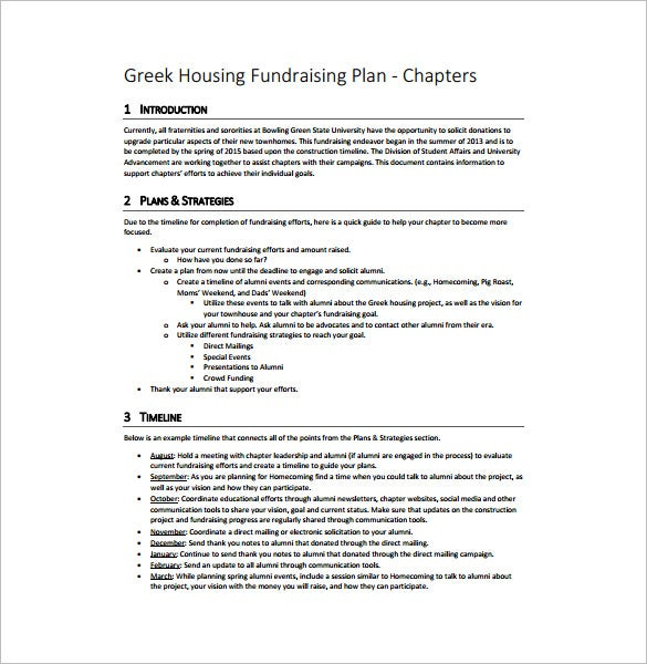 16 fundraising plan templates free sample example format greek housing fundraising plan free pdf template flashek Choice Image