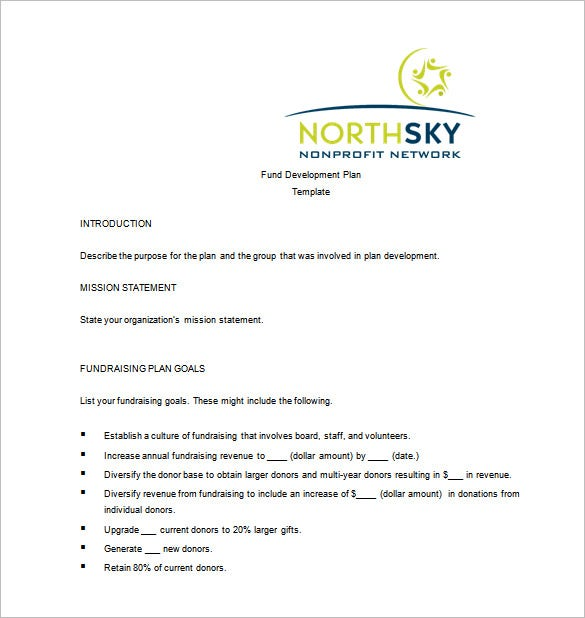 north sky fundraising plan word template free download