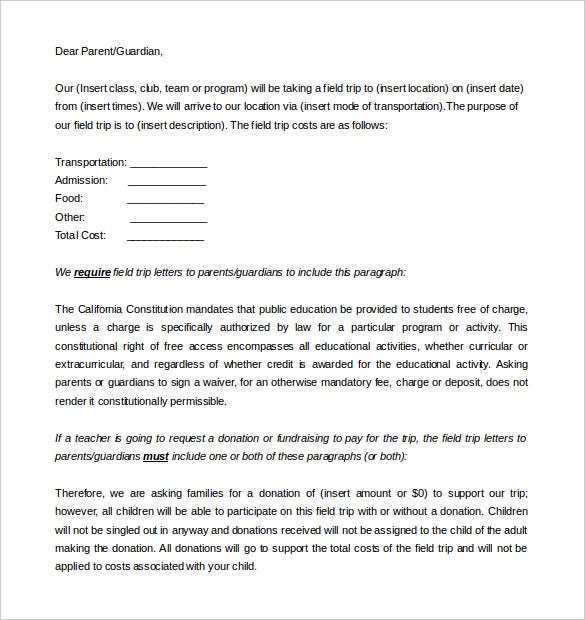 9 Parent Letter Templates Free Sample Example Format Download
