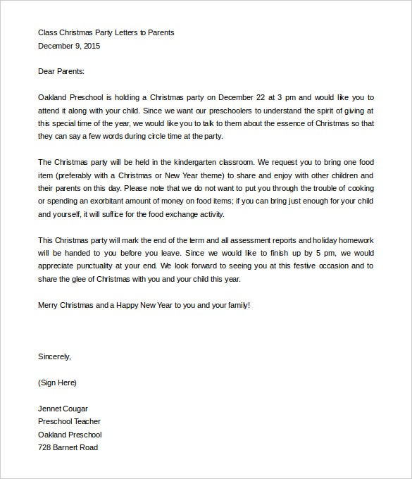 9 parent letter templates free sample example format download sample christmas party parent letter template free download spiritdancerdesigns Choice Image
