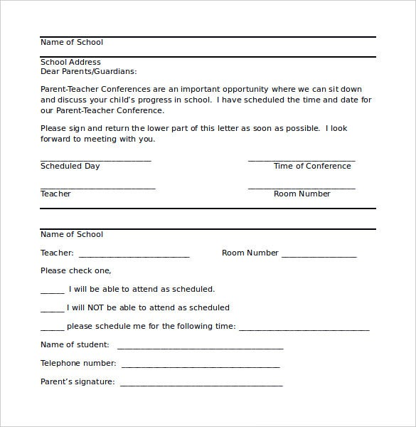 Template for parent teacher conferences for Parent letter from teacher template