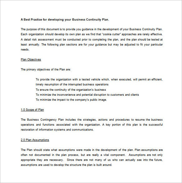 High Quality Business Contingency Plan Example Word Template Free Download