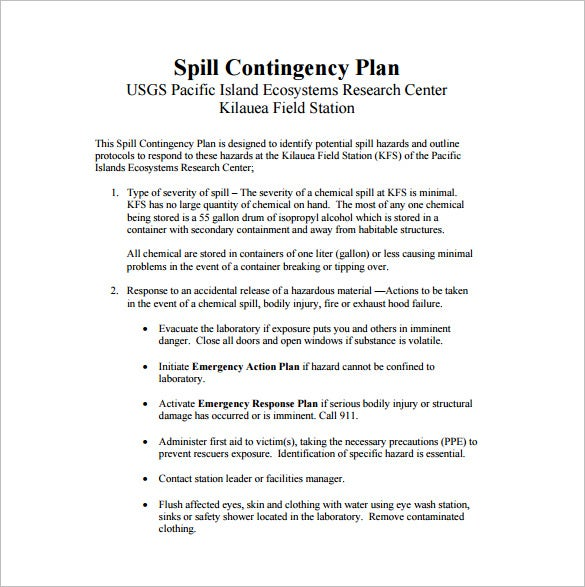 Spill Contingency Plan Sample PDF Template Free Download  Examples Of Contingency Plans
