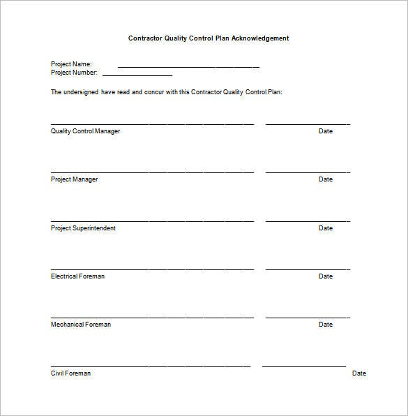 7 quality control plan template word pdf free for Quality assurance spreadsheet template
