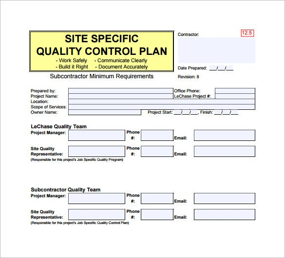 7 quality control plan template word pdf free for Quality control plan template for manufacturing