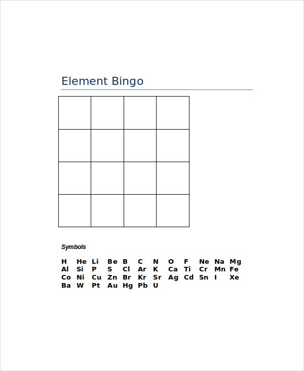 elemental bingo template