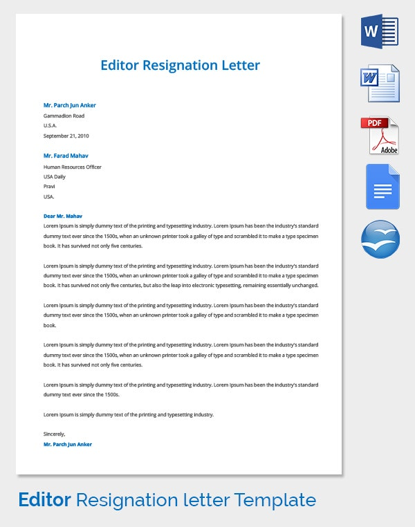 Sample Editor Resignation Letter