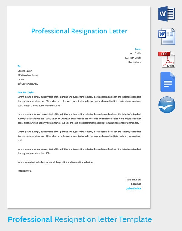 Professional Resignation Letter Template