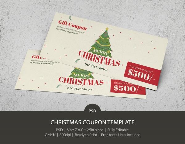 Beautiful Christmas Gift Coupon Templates