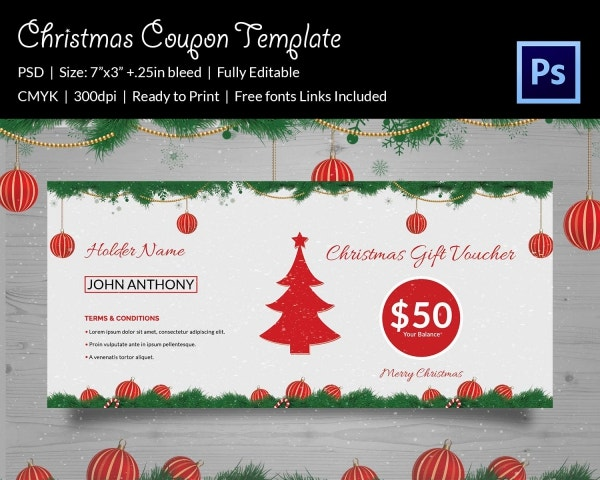 Elegant Christmas Coupon Template Download