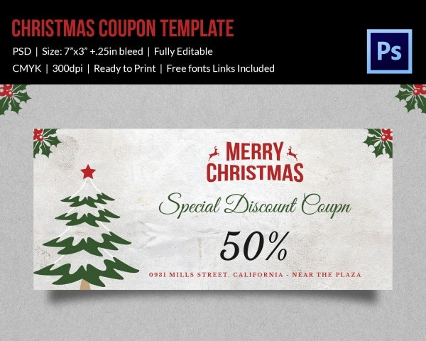 Christmas Discount Coupon Template Download