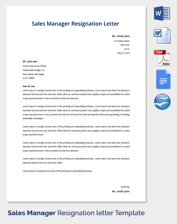 Sales Manager Resignation Letter Template