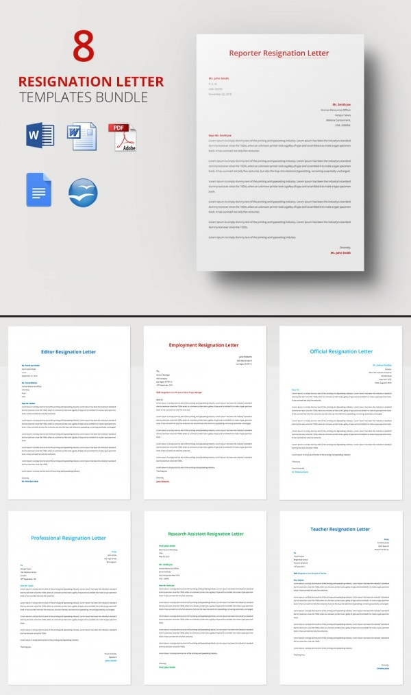 Resignation Letter Template Bundle