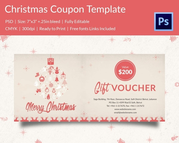 Professional Christmas Coupon Template Download