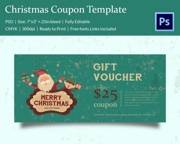 Attractive Christmas Coupon Template Download