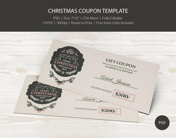 Printable Christmas Coupon Template Download
