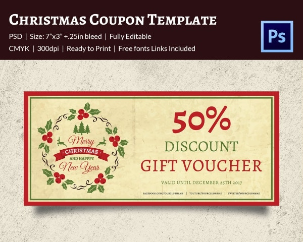 Colorful Christmas Gift Voucher Template
