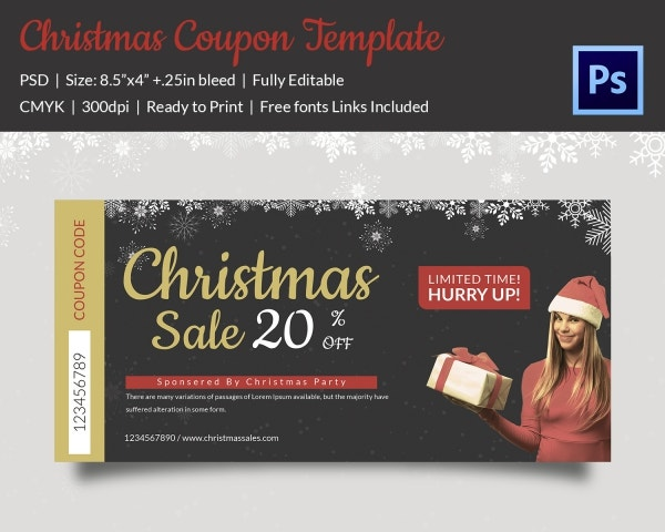 Christmas Discount Coupon Template Easy Download