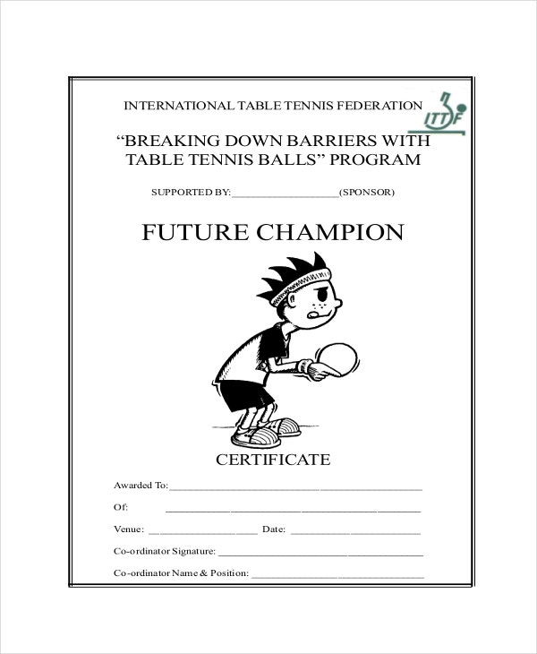 Table tennis certificate template 7 free word pdf psd format table tennis champion certificate yadclub Image collections